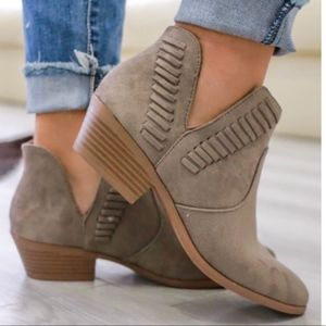 Taupe V Cut Slip On Ankle Booties